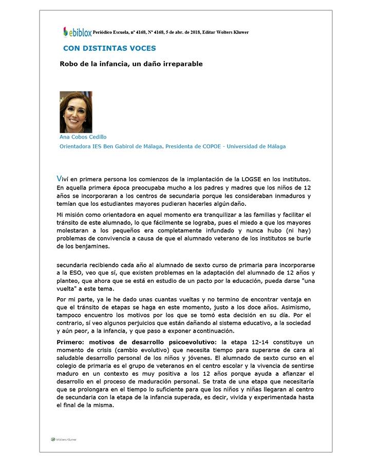 """""""Robo de la infancia, un daño irreparable"""", artículo de Ana Cobos en el periódico Escuela"""